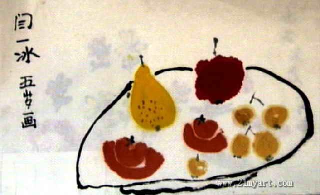秋天的水果儿童水墨画