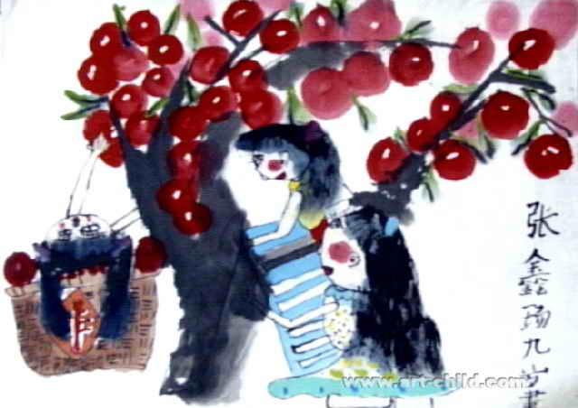 秋收儿童画3幅