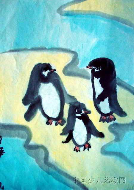 企鹅的一家儿童水墨画