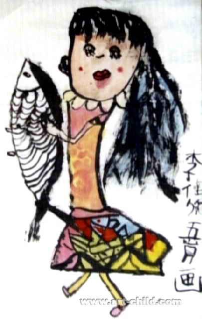 好大的鱼儿童水墨画
