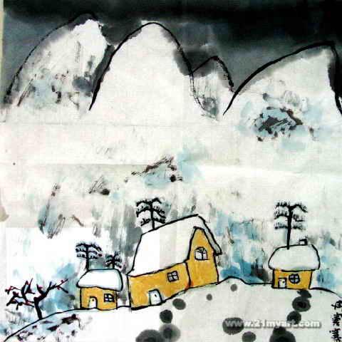下雪了儿童画2幅