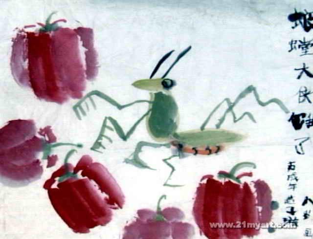 螳螂大侠饿了儿童画图片