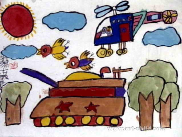 大坦克儿童画作品欣赏图片