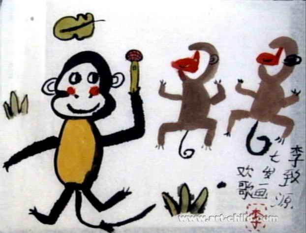 欢歌中国画儿童作品,此幅中国画尺寸为473x622像素
