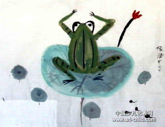 青蛙儿童画属于中国画,长493px,宽640px,