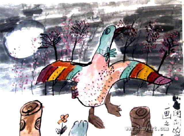 天鹅儿童画属于中国画