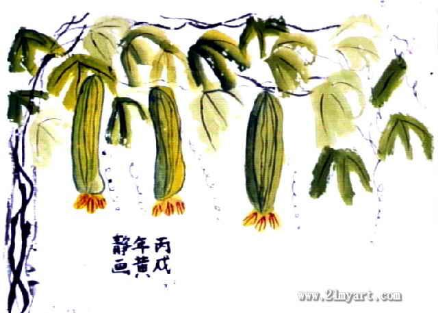 丝瓜儿童画,此幅中国画尺寸为457x640像素,作者黄静,女,8岁,来自二七图片