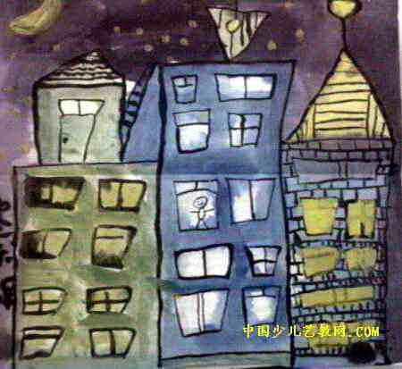 可爱的楼房儿童画