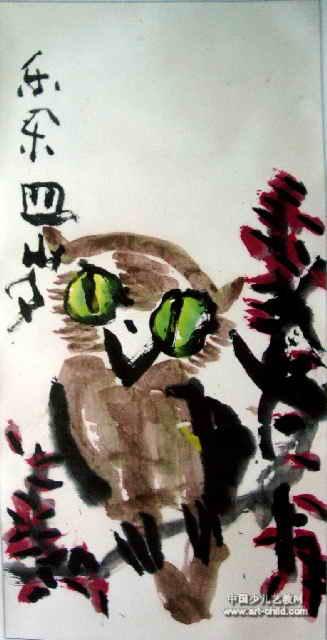 儿童画 杨秀河/猫头鹰儿童画属于中国画,大小为640x327像素,作者张宇豪,...