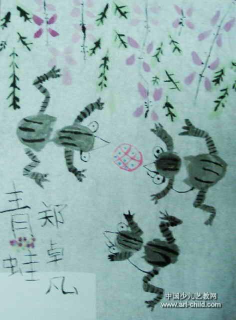 青蛙儿童画,此幅中国画尺寸为640x473像素,作者郑卓凡,来自新密市育青