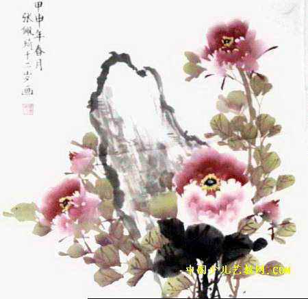 洛阳牡丹儿童画12幅(第7张)