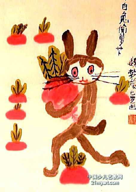 小白兔偷萝卜儿童画图片