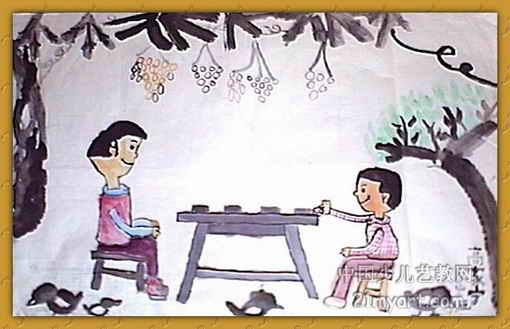 和爸爸下棋儿童画