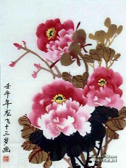 洛阳牡丹儿童画12幅