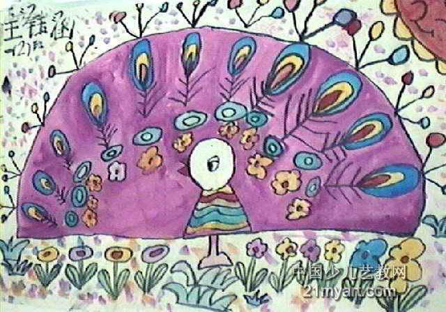 花孔雀儿童水墨画