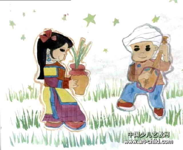 民族舞儿童水墨画