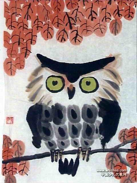儿童画 郭玥/猫头鹰儿童画,这幅中国画作品长640px,宽480px,作者郭玥,...