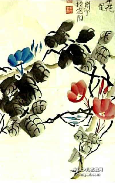 牵牛花儿童画(三)8幅