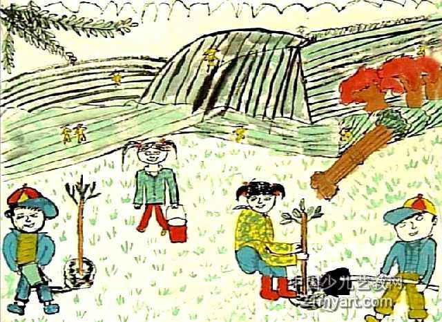 小树苗快长大儿童画作品欣赏