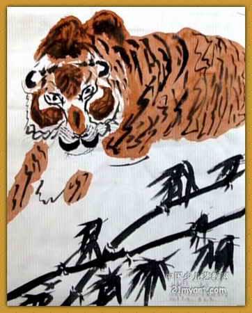 """""""虎""""儿童画,这幅中国画作品长450px,宽362px,作者李宁,男,10岁,就读"""