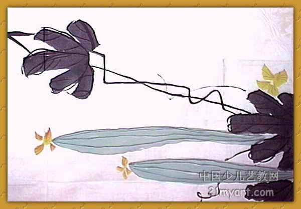 儿童画 刘晶/丝瓜儿童画属于中国画,长417px,宽600px,作者刘晶,女,9岁...