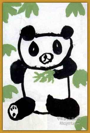 小熊猫儿童画3幅
