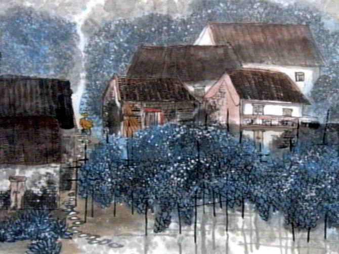 村居儿童画图片