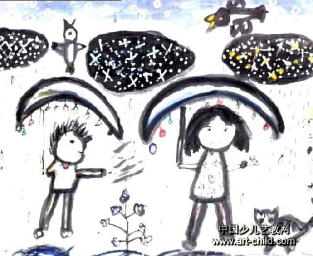 下雨天儿童画作品欣赏
