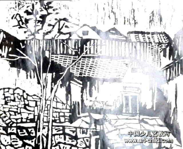 外婆的家儿童版画,这幅版画作品长523px,宽640px,作者陈晔,女,13岁,就读福建省松溪县第三中学.