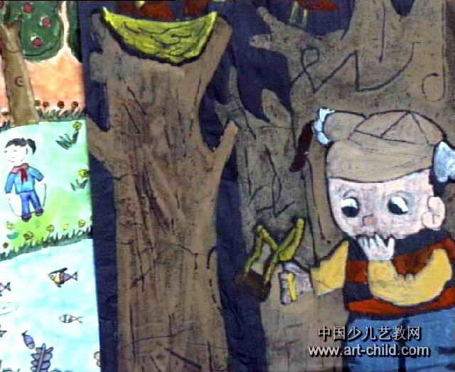 儿童画 熊山/鸟与弹弓儿童画属于水粉画,大小为523x640像素,作者吕地香,...