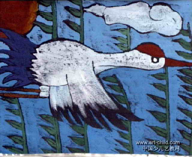 家乡的丹顶鹤儿童画作品欣赏