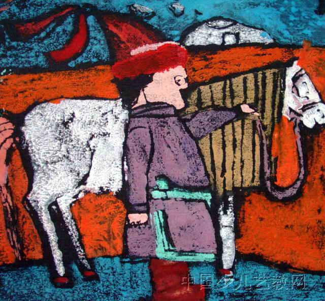 牧马人儿童版画