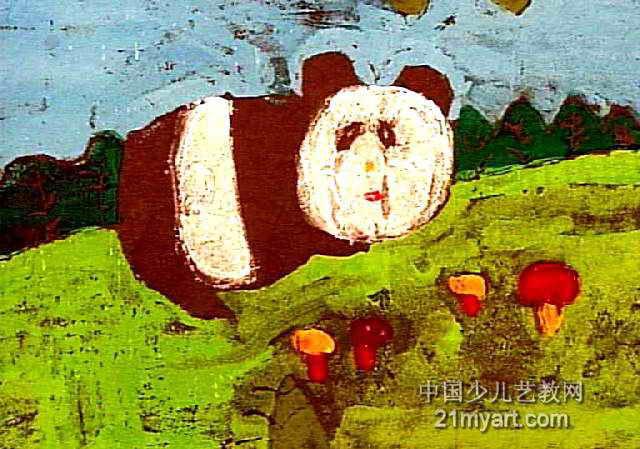 大熊猫儿童版画