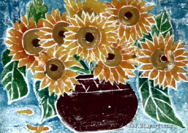 向日葵儿童版画属于油画棒画