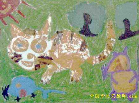 猫捉老鼠儿童画2幅