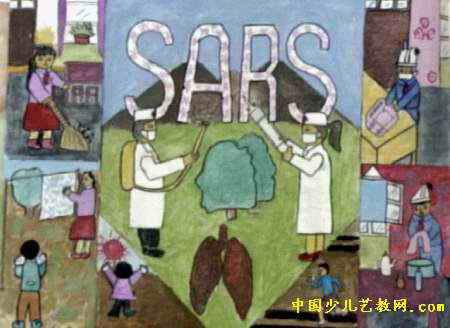 预防非典型肺炎儿童画