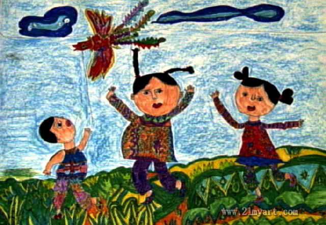 放风筝简笔画 放风筝图片欣赏 放风筝儿童画画作品