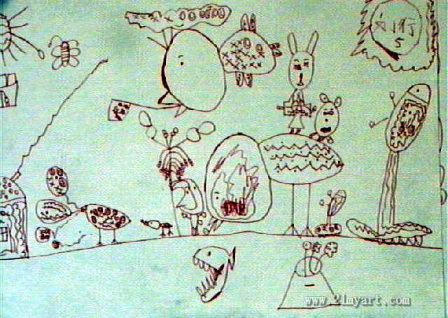 动物园儿童画作品欣赏