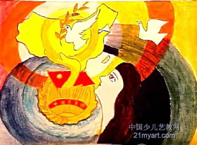 儿童画 丛珊/展望儿童画,此幅水粉画尺寸为473x640像素,作者丛珊,来自...