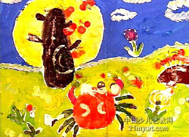 吃樱桃儿童画作品欣赏图片