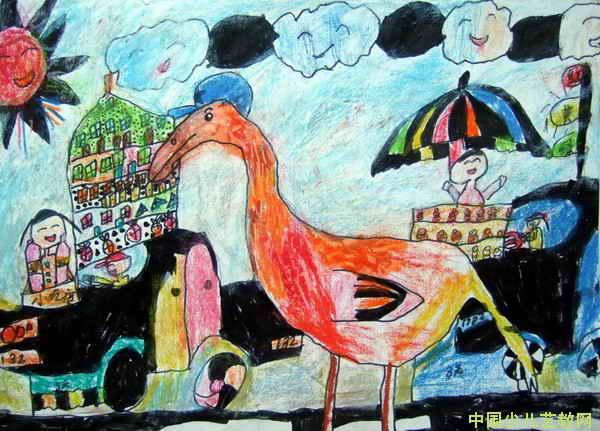 《大鸟朋友》儿童画