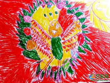 美丽的孔雀 儿童画