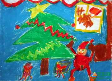幼儿圣诞节水彩画-圣诞老人 儿童画