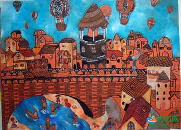 《做热气球旅行》儿童画