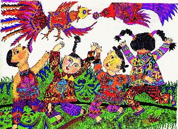 色彩人物装饰作品儿童画