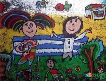 幸福一家人 儿童画