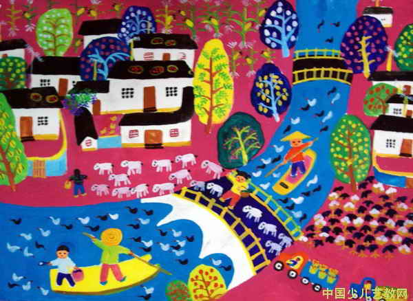 我美丽的家乡 儿童画