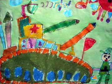 坦克大战 儿童画图片