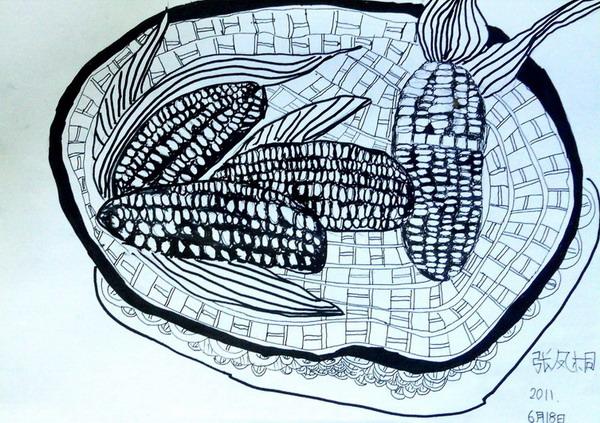 《一筐的玉米》儿童画
