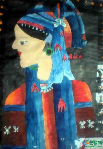 《少数民族少女》儿童画